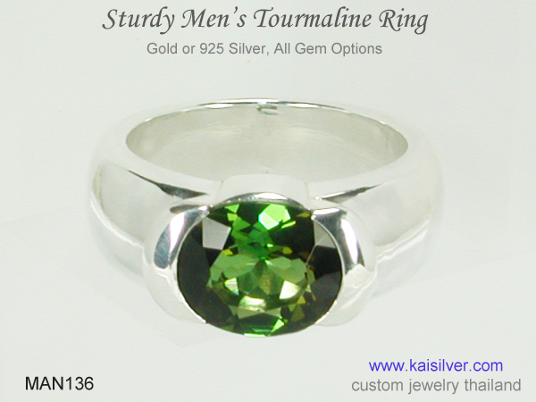 men's green tourmaline gemstone ring